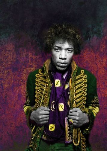 JIMI  HENDRIX - GREEN JACKET ART - canvas print - self adhesive poster - photo print